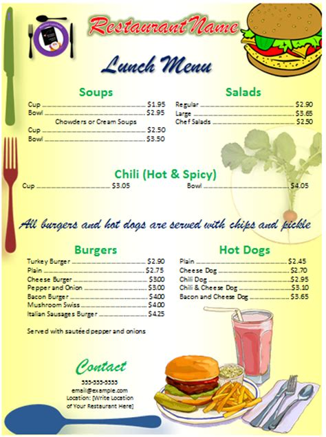 free printable restaurant menu template sle menu ms office guru