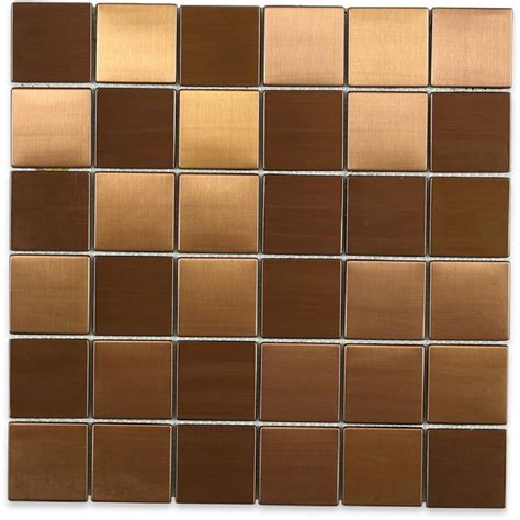 splashback tile metal copper 2 in squares 12 in x 12 in