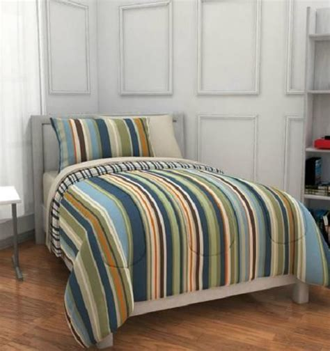 stripe twin comforter full boys blue green orange brown reversible stripe plaid