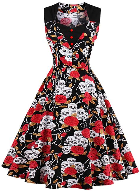 skull swing dress women s vintage halloween skull floral a line swing dress