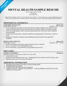 Behavioral Therapist Sle Resume by Mental Health Resume Exle Http Resumecompanion Health Resume Sles Across