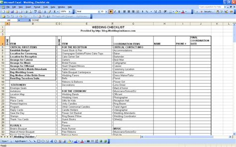 Wedding Checklist Spreadsheet by Wedding Planner Wedding Checklist Spreadsheets