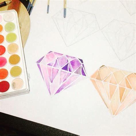watercolor tattoo diamond best 20 drawing ideas on pastel