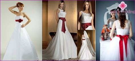 braut rotes band hochzeitskleid mit einem roten band auf dem band models