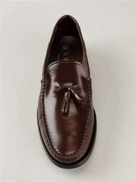 tods tassel loafer tod s tassel loafers in brown for lyst