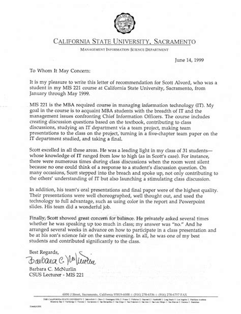Recommendation Letter Mba Marketing by Writing A Great Letter Of Recommendation Best Template