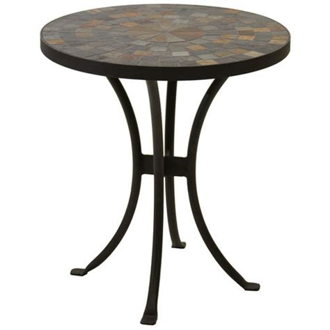 outdoor mosaic accent table mosaic slate outdoor accent table at brookstone buy now