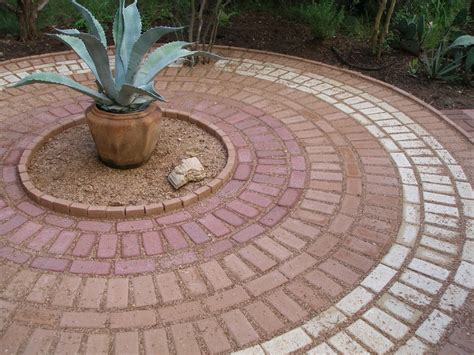 easy brick patio easy circular brick pattern no cutting or variation in