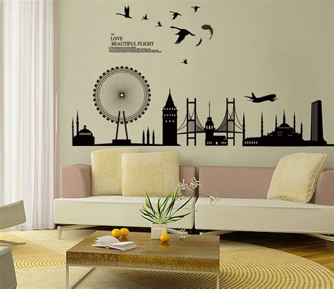 black city silhouette cityscape ferris wheel bridge wall decals living room bedroom removable