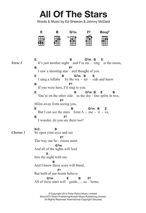 ed sheeran perfect ukulele strumming pattern all of the stars sheet music by ed sheeran ukulele 121835
