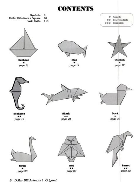 dollar bill animals in origami