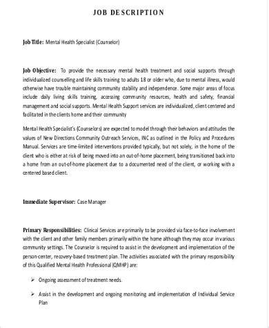 mental health counselor description sle 8