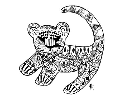 printable zentangle outlines simba ink drawing 8x10 print abstract art disney by