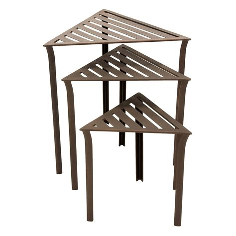 nesting accent tables bronze triangular nesting tables set of three achla