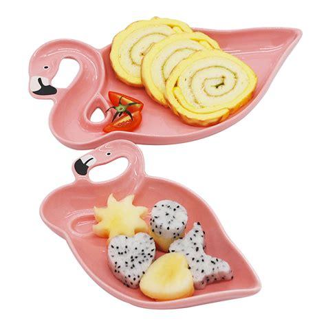 Promo Tupperware Serving Center 1pcs Pink 1pcs flamingo decoration pink 3d ceramic plate snacks dried fruit plates fruit bowl dessert