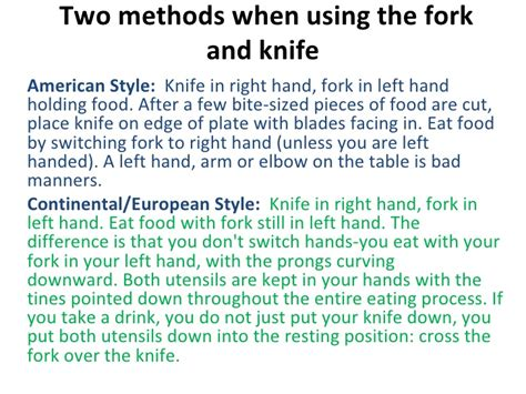 what s with the way we use forks and knives at the table etiquettes on fine dining