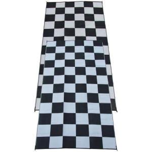 Checkered Flag Rug by Fireside Patio Mats Racing Checks Black And White