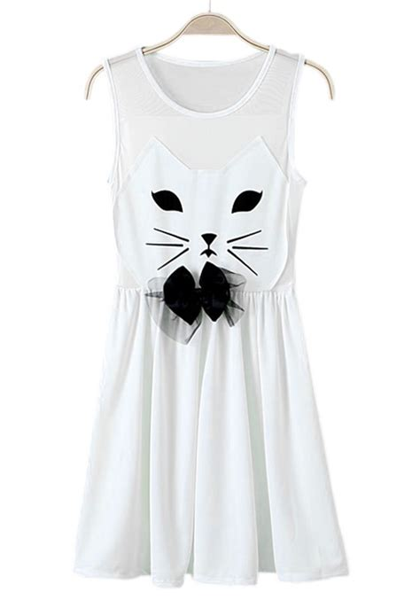 dress white cat 18807 white cat print bow sleeveless chiffon dress mini
