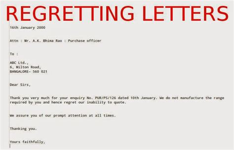 Regret Letter Quotation Sle Regretting Letters Sles Business Letters