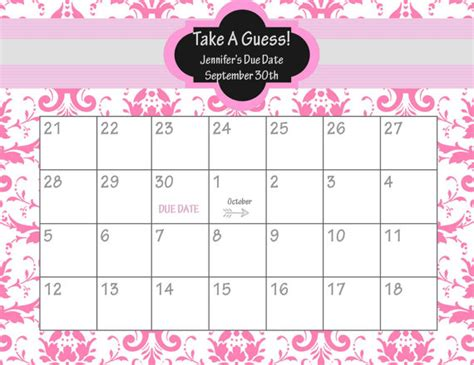 free printable guess the due date printable calendar seven photo