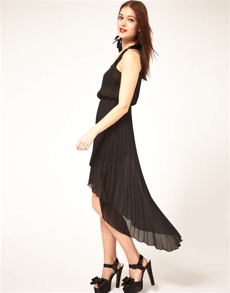 Pleated Dress 16091 Black lyst asos collection asos midi dress with pleated skirt