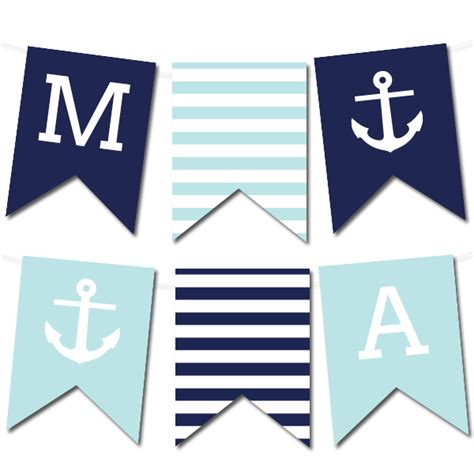 printable alphabet pennant banner free printable nautical banner wedding printable