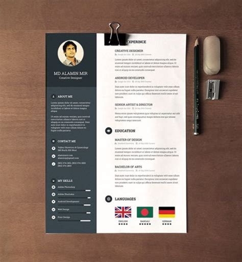 free creative resume template 28 minimal creative resume templates psd word ai