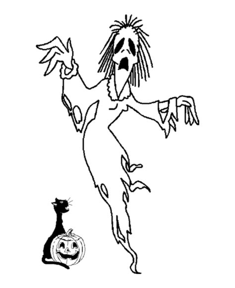 halloween ghost coloring page scary witch halloween