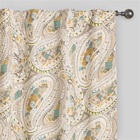 gray paisley curtains gray and aqua paisley concealed tab top curtains world