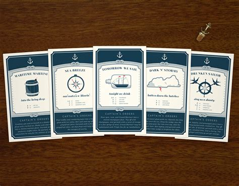 cocktail recipe cards nautical cocktail recipe cards on behance