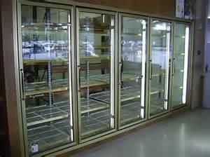walk in cooler glass doors set outside