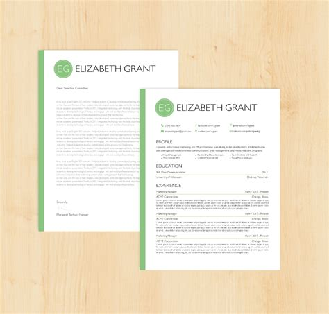 resume template cover letter template the elizabeth by