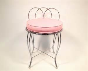 Vanity Chair Cushion Mid Century Metal Vanity Chair With Pink Cushion By