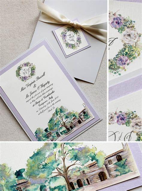 painted watercolor wedding invitations virginia r watercolor tuscan landscape wedding