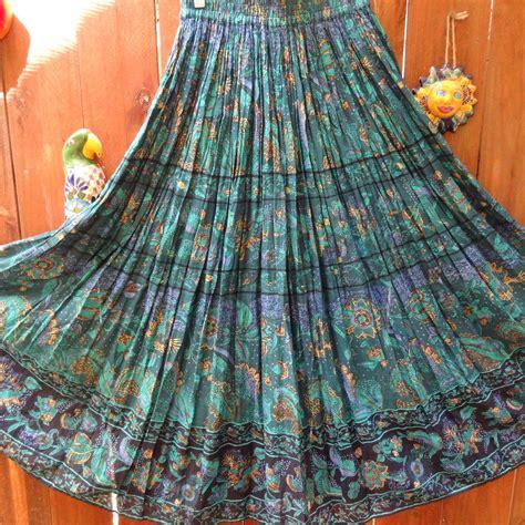 vintage hippie bohemian indian cotton maxi skirt