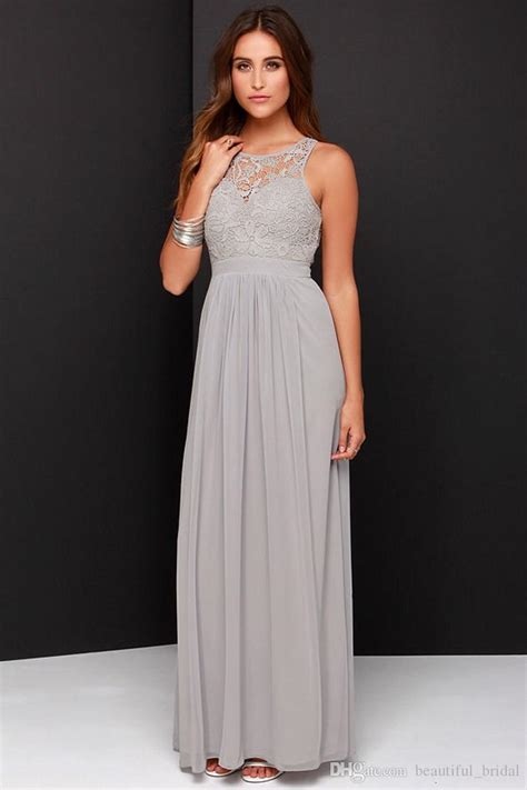 light grey dress wedding guest 2016 spring grey bridesmaid dresses long chiffon a line