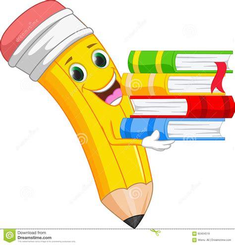 clipart matita la matita felice fumetto porta un libro illustrazione