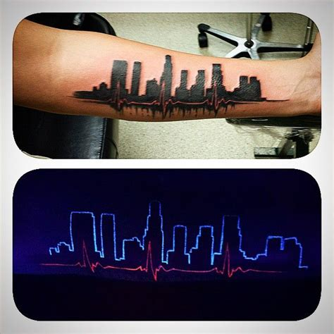 la skyline tattoo tattooing tattoos skyline la silhouette uv