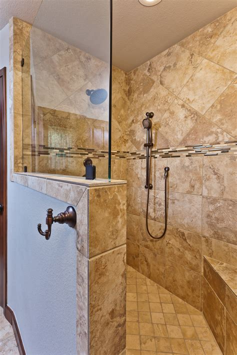 Shower Without Doors Kalinowski Master Bath Remodel Beautiful Walk In Shower With Tile Inlays Imagine How Great