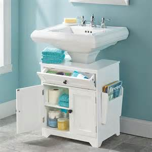 bathroom storage pedestal sink the pedestal sink storage cabinet hammacher schlemmer