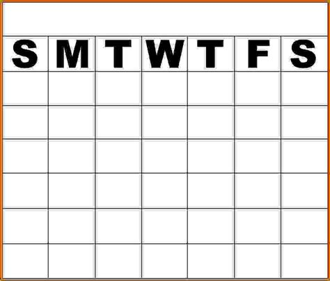 monday thru friday calendar template blank monday through friday calendar calendar template 2016