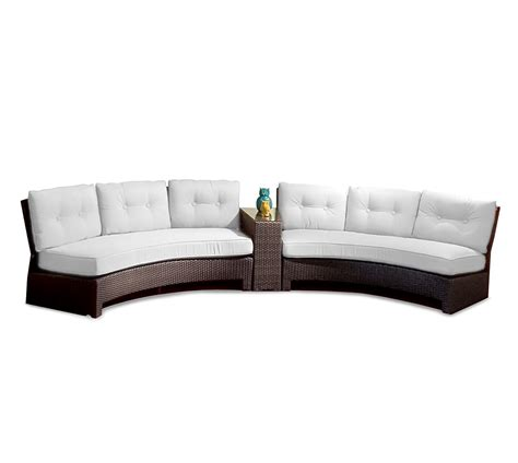 Outdoor Curved Sofa Contemporary Patio Decoration With White Sectional Sofa Cushion And Curved Outdoor Sectional