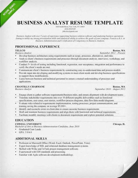 Resume For Business Analyst Business Analyst Resume Sle Writing Guide Rg