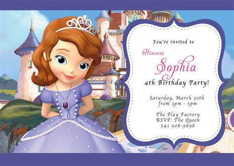 custom photo invitations disney sofia the first birthday