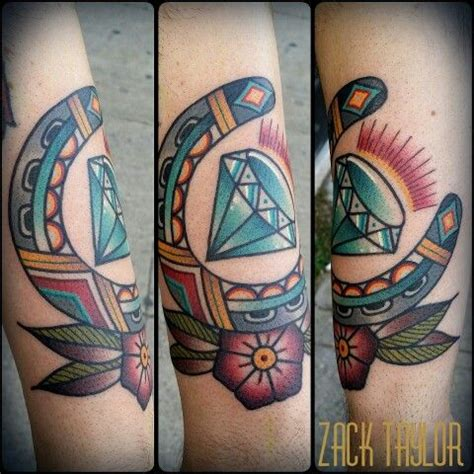 traditional diamond tattoo traditional horeseshow and by zack