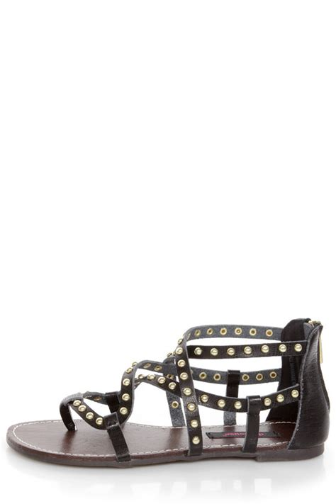 studded gladiator flat sandals dollhouse gladiator black studded strappy flat sandals