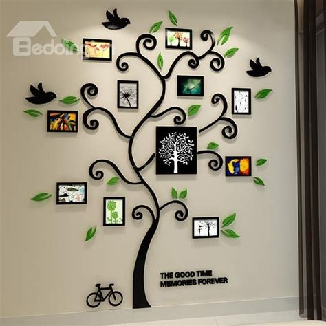 Wall Sticker 3d Bulat 3d Wall Sticker Model Bulat Bahan Kayu Ringan fantastic family tree pattern photo frame 3d wall sticker beddinginn