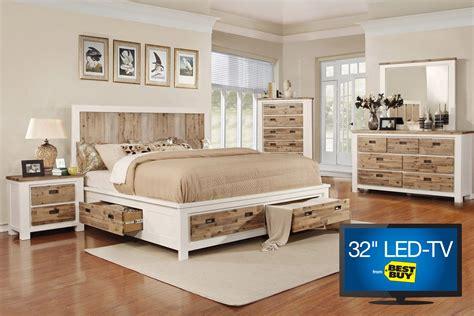 western queen storage bedroom set   tv  gardner white