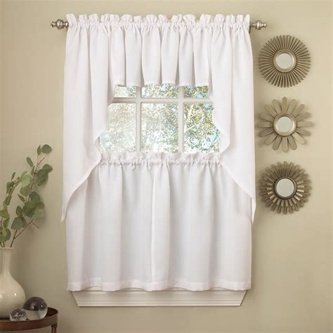 Swag Curtains For Kitchen White Solid Opaque Ribcord Kitchen Curtains Choice Of Tiers Valance Or Swag Ebay