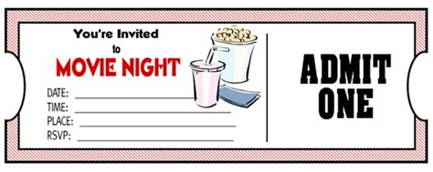 printable movie tickets coupons diy tickets for movie night family movies free